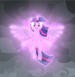 Size: 776x805 | Tagged: safe, screencap, twilight sparkle, alicorn, pony, the ending of the end, cropped, floating, glow, magic, magic aura, smiling, solo, spread wings, twilight sparkle (alicorn), wings
