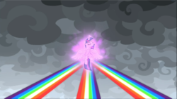 Size: 1668x939 | Tagged: safe, screencap, twilight sparkle, alicorn, pony, the ending of the end, cloud, cropped, dark clouds, eyes closed, floating, magic, magic aura, magic of friendship, solo, spread wings, twilight sparkle (alicorn), wings