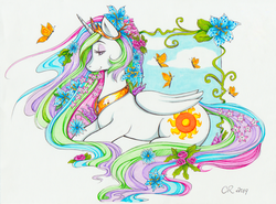 Size: 1627x1204 | Tagged: abstract background, alicorn, artist:flower nymph, artist:longinius, butterfly, crown, cutie mark, eyeshadow, female, flower, flower in hair, jewelry, makeup, mare, marker drawing, pony, princess celestia, regalia, safe, solo, traditional art, vine