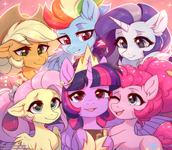 Size: 3000x2620 | Tagged: alicorn, applejack, artist:fensu-san, clothes, cute, ear fluff, earth pony, end of ponies, female, fluttershy, mane six, mare, older, older applejack, older fluttershy, older mane 6, older pinkie pie, older rainbow dash, older rarity, older twilight, one eye closed, open mouth, pegasus, pinkie pie, pony, rainbow dash, rarity, safe, series finale, smiling, spoiler:s09e26, the last problem, twilight sparkle, twilight sparkle (alicorn), unicorn
