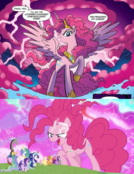 Size: 1230x1602 | Tagged: safe, edit, idw, screencap, applejack, discord, fluttershy, pinkie pie, princess celestia, princess luna, rainbow dash, rarity, spike, starlight glimmer, twilight sparkle, alicorn, pony, the ending of the end, spoiler:comic, spoiler:comic57, spoiler:s09e25, alicornified, chaos magic, chaos pinkie, comparison, giant pony, grogar's bell, macro, mane six, multeity, oh crap, pinkiecorn, princess of chaos, race swap, too much pink energy is dangerous, twilight sparkle (alicorn), uh oh, xk-class end-of-the-world scenario