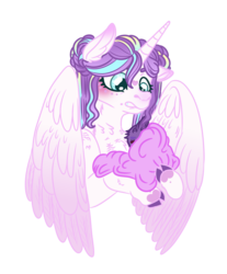 Size: 1034x1251 | Tagged: artist:grateful-dead-raised, baby, cousins, flurry heart's story, hybrid, interspecies offspring, oc, oc:scarlet star, offspring, older, older flurry heart, parent:discord, parents:discolight, parents:twicord, parent:twilight sparkle, princess flurry heart, safe, simple background, transparent background