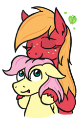 Size: 415x612 | Tagged: artist:jargon scott, big macintosh, butterreina, butterscotch, earth pony, female, fluttermac, fluttershy, macareina, male, mare, pegasus, pony, rule 63, safe, shipping, stallion, straight