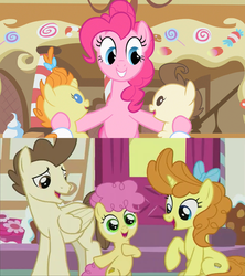 Size: 1280x1440 | Tagged: awww, baby cakes, babysitting, cake twins, cheesepie, dawwww, female, foal, foalsitting, full circle, heartwarming, li'l cheese, male, older, older pound cake, older pumpkin cake, pinkie pie, pony, ponyville, pound cake, pumpkin cake, safe, screencap, shipping, siblings, spoiler:s09e26, straight, sugarcube corner, the last problem, the magic of friendship grows, then and now, twins