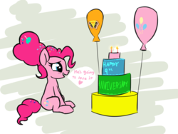 Size: 2238x1680 | Tagged: safe, artist:wenni, derpibooru exclusive, pinkie pie, earth pony, pony, the last problem, spoiler:s09e26, anniversary, balloon, cake, candle, dialogue, female, food, happy birthday mlp:fim, implied cheese sandwich, implied cheesepie, implied shipping, implied straight, mlp fim's ninth anniversary, older, older pinkie pie, simple background, solo