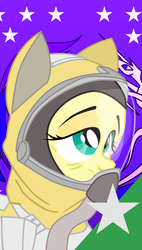 Size: 900x1583 | Tagged: armor, artist:aaronmk, equestrian flag, fallout equestria, fluttershy, hazmat suit, older, pony, sad, safe