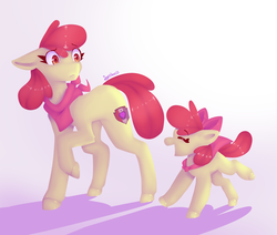 Size: 2600x2200 | Tagged: apple bloom, artist:synnibear03, blank flank, duality, eyes closed, female, filly, older, older apple bloom, one hoof raised, open mouth, pony, safe, self ponidox, time paradox