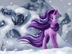 Size: 4000x3000 | Tagged: artist:pony-way, badass, cool guys don't look at explosions, ear fluff, female, lidded eyes, mare, pony, safe, scene interpretation, snow, solo, spoiler:s09e24, starlight glimmer, the ending of the end, unicorn