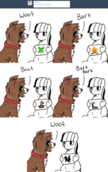 Size: 1600x2524 | Tagged: safe, artist:askwinonadog, winona, oc, oc:obamare, bird, dog, ask winona, ask, bark, boat, boof, campfire, clover, comic, duo, four leaf clover, onomatopoeia, picture, rooster, sailboat, tesla coil, tumblr, woof