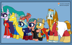Size: 6000x3737 | Tagged: safe, artist:eagc7, flash magnus, meadowbrook, mistmane, rockhoof, somnambula, star swirl the bearded, earth pony, pegasus, pony, unicorn, alan scott, beard, billy batson, black canary, cape, captain marvel, clothes, commission, costume, dc comics, dinah lance, doctor fate, facial hair, female, green lantern, hat, jacket, jay garrick, justice society of america, ko-fi, male, mare, name joke, patreon, pillars of equestria, ring, shazam, shoes, simple background, stallion, stargirl, the flash