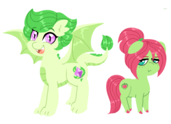Size: 1046x756 | Tagged: safe, artist:purfectprincessgirl, oc, oc:emerald gleam, oc:spring melody, dracony, earth pony, hybrid, belly scales, bio in the source, claws, colored hooves, dragon wings, duo, fangs, female, filly, freckles, grumpy, interspecies offspring, mare, next generation, offspring, open mouth, parent:big macintosh, parent:fluttershy, parent:rarity, parent:spike, parents:fluttermac, parents:sparity, pouting, redesign, slit pupils, smiling, unshorn fetlocks, wings