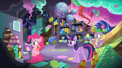 Size: 1366x768 | Tagged: safe, screencap, pinkie pie, spike, twilight sparkle, alicorn, dragon, earth pony, pony, the last problem, spoiler:s09e26, balloon, box, boxes, cabinet, cake, candy, candy corn, cupcake, disco ball, file cabinet, folder, food, graph, party cave, present, shelf, slide, twilight sparkle (alicorn), winged spike