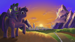 Size: 3840x2160 | Tagged: safe, artist:alabaster scarf, spike, twilight sparkle, alicorn, dragon, canterlot, looking at you, mountain, mountain range, ponyville, scenery, sunset, twilight sparkle (alicorn), windmill, winged spike