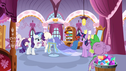Size: 1366x768 | Tagged: alicorn, bed, bucket, carousel boutique, ceiling light, clothes, curtain, curtains, dragon, dress, eating, gem, mannequin, mirror, rarity, roll, safe, screencap, shelf, spike, spoiler:s09e26, the last problem, twilight sparkle, twilight sparkle (alicorn), window, winged spike