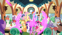 Size: 1366x768 | Tagged: alicorn, amethyst star, applejack, comic book, curtain, curtains, dawnlighter, dragon, fluttershy, friendship student, goldy wings, green sprout, lamp, loganberry, magic, mane six, midnight snack (character), pinkie pie, rainbow dash, rainbow stars, rarity, roseluck, safe, screencap, seat, shocked, silver script, sparkler, spike, spoiler:s09e26, star bright, surprised, teleportation, tender brush, the last problem, train, twilight sparkle, twilight sparkle (alicorn), window, winged spike, winter lotus
