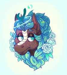 Size: 1044x1164 | Tagged: safe, artist:beastofeuthanasia, oc, oc only, oc:angel, kirin, body painting, commission, ethereal mane, female, flower, flower in hair, kirin oc, lidded eyes, looking at you, magic, mare, simple background, solo, starry mane, white background, ych result