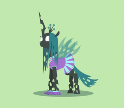 Size: 2417x2118 | Tagged: safe, artist:gd_inuk, ocellus, queen chrysalis, changedling, changeling, 2 4 6 greaaat, what lies beneath, spoiler:s09e15, blank eyes, cheerleader chrysalis, cheerleader ocellus, cheerleader outfit, clothes, disguise, disguised changeling, empty eyes, female, green background, happy, lineless, no mouth, no pupils, pleated skirt, pom pom, simple background, skirt, solo, stylized