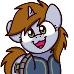 Size: 1000x1000   Tagged: safe, artist:sugar morning, oc, oc only, oc:littlepip, pony, unicorn, fallout equestria, clothes, cute, fanfic, fanfic art, female, horn, looking at you, mare, ocbetes, open mouth, pipabetes, simple background, smiling, solo, sugar morning's smiling ponies, transparent background, vault suit
