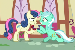Size: 713x472 | Tagged: bon bon, couple, edit, female, it happened, lesbian, lyrabon, lyra heartstrings, pony, ponyville, proposal, rotated, safe, screencap, shipping, spoiler:s09e23, sweetie drops, the big mac question, upscaled
