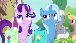 Size: 1920x1080 | Tagged: lily, lily valley, royal riff, safe, screencap, spoiler:s09e11, starlight glimmer, student counsel, trixie