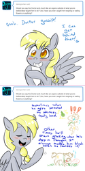 Size: 750x1502 | Tagged: artist:craftykraken, artist:jitterbugjive, derpy hooves, doctor whooves, food, horses doing horse things, lovestruck derpy, pear, pony, safe, time turner