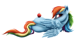 Size: 1900x1000 | Tagged: apple, artist:rainbow, ear fluff, female, food, looking at you, looking back, looking back at you, lying down, mare, pegasus, pony, rainbow dash, rear view, safe, side, simple background, transparent background