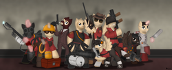 Size: 2211x905 | Tagged: safe, artist:99999999000, earth pony, pegasus, pony, unicorn, clothes, demoman, engineer, flamethrower, gas mask, grenade launcher, gun, handgun, heavy, mask, medic, minigun, ponified, pyro, revolver, rifle, rocket launcher, saw, scout, sniper, sniper rifle, soldier, spy, suit, team fortress 2, valve, weapon