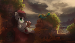 Size: 3500x2000 | Tagged: artist:freeedon, bird, book, commission, female, lighthouse, mare, oc, oc only, oc:siren, pegasus, pony, ruins, safe, scenery, solo, water