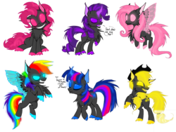 Size: 1032x774   Tagged: safe, artist:keavemind, applejack, fluttershy, pinkie pie, rainbow dash, rarity, twilight sparkle, changeling, changelingified, corrupted, mane six, species swap, toxic