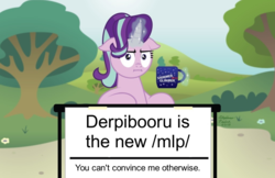 Size: 1109x719 | Tagged: safe, starlight glimmer, pony, unicorn, /mlp/, 4chan, :i, change my mind, coffee mug, female, floppy ears, i mean i see, levitation, looking at you, magic, mare, meme, mug, telekinesis