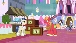 Size: 1366x768   Tagged: safe, screencap, big macintosh, earl grey, lemon hearts, mochaccino, rare find, savoir fare, earth pony, pony, unicorn, the last problem, background pony, balloon, banner, bow, carpet, crate, duo focus, female, flag, male, mare, stallion, table, tent
