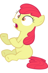 Size: 4945x7556 | Tagged: accessory-less edit, apple bloom, artist:tardifice, earth pony, edit, editor:slayerbvc, female, filly, missing accessory, safe, shocked, simple background, solo, transparent background, vector, vector edit
