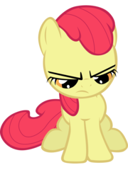 Size: 4513x6282 | Tagged: accessory-less edit, apple bloom, artist:tardifice, earth pony, edit, editor:slayerbvc, female, filly, grumpy, looking down, missing accessory, safe, simple background, solo, transparent background, vector, vector edit