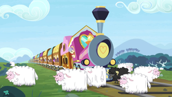 Size: 1366x768 | Tagged: safe, screencap, amethyst star, sparkler, pony, sheep, the last problem, spoiler:s09e26, conductor, friendship express, tracks, train, train tracks