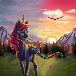Size: 1350x1350 | Tagged: changeling, dracony, dragon, hybrid, oc, oc:king phoenix embers, oc only, pony, pretty, red changeling, safe, sunset, walk, ych result