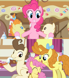 Size: 1280x1440 | Tagged: awww, baby cakes, babysitting, cake twins, cheesepie, cheese sandwich, dawwww, female, foal, foalsitting, full circle, heartwarming, li'l cheese, male, older, older pound cake, older pumpkin cake, pinkie pie, pony, ponyville, pound cake, pumpkin cake, safe, screencap, shipping, siblings, spoiler:s09e26, straight, sugarcube corner, the last problem, the magic of friendship grows, then and now, twins