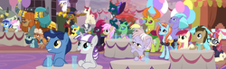Size: 2502x768 | Tagged: safe, composite screencap, edit, edited screencap, screencap, big daddy mccolt, capper dapperpaws, derpy hooves, doctor whooves, dusty pages, gilda, lemon hearts, ma hooffield, minuette, moondancer, night light, pharynx, prince rutherford, roseluck, sassy saddles, seaspray, tempest shadow, thorax, time turner, twilight velvet, twinkleshine, zecora, abyssinian, changedling, changeling, classical hippogriff, earth pony, griffon, hippogriff, pegasus, pony, unicorn, yak, the last problem, spoiler:s09e26, background changeling, background pony, balloon, banner, broken horn, castle walls, changedling brothers, clothes, coronation, cup, ear piercing, earring, everycreature, female, general seaspray, glass, glasses, hat, hooffield family, horn, horn ring, jewelry, king thorax, looking up, male, mare, mccolt family, panorama, piercing, prince pharynx, stallion, sweater, table, ten gallon hat