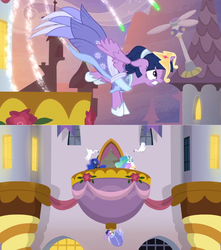 Size: 1360x1536 | Tagged: alicorn, balcony, banner, bird, canterlot, clothes, crown, dress, electric fan, falling, fireworks, flower, jewelry, jumping, princess celestia, princess luna, regalia, rose, safe, sash, screencap, spoiler:s09e26, swan, the last problem, twilight sparkle, twilight sparkle (alicorn), window
