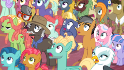 Size: 1366x768 | Tagged: a.k. yearling, amber grain, babs seed, background griffon, background kirin, background pony, ballet jubilee, berry star, burnt oak, cinder glow, clear sky, colt, cranky doodle donkey, donkey, earth pony, everycreature, female, filly, fire flicker, friendship student, gasping, gillian, golden crust, griffon, kirin, lilac swoop, male, mare, matilda, midnight snack (character), night view, pegasus, pony, quibble pants, safe, screencap, shocked, shrunken pupils, spoiler:s09e26, stallion, star tracker, summer flare, surprised, the last problem, tree hugger, unicorn, wind sprint, winter flame, zephyr breeze