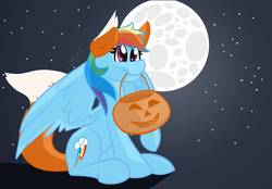 Size: 1073x745 | Tagged: safe, artist:cadetredshirt, rainbow dash, pegasus, pony, wolf, wolf pony, animal costume, clothes, commission, costume, female, full body, full moon, gradient background, halloween, halloween costume, holiday, mare, moon, mouth hold, night, nightmare night, nightmare night costume, pumpkin, pumpkin bucket, rainbow, sitting, sky, solo, stars, wings, ych result