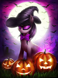 Size: 2348x3125   Tagged: safe, artist:virus-papirus, octavia melody, bat, earth pony, pony, bowtie, clothes, costume, female, full moon, glasses, halloween, halloween costume, hat, holiday, hooves, jack-o-lantern, mare, moon, nightmare night, pumpkin, solo, sunglasses, witch hat