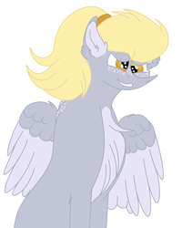 Size: 1732x2160 | Tagged: alternate hairstyle, artist:elhybridtrash, chest fluff, derpy hooves, ear fluff, female, freckles, mare, pegasus, pony, ponytail, safe, solo