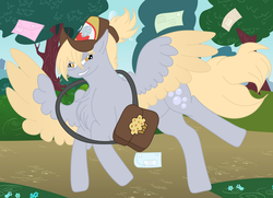 Size: 2560x1854 | Tagged: alternate hairstyle, artist:elhybridtrash, bag, chest fluff, derpy hooves, female, hat, letter, mailmare, mailmare hat, mare, pegasus, pony, ponytail, safe, solo, tree