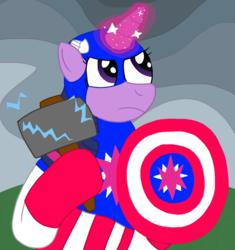 Size: 1000x1063 | Tagged: safe, artist:mtad2, twilight sparkle, alicorn, pony, the ending of the end, spoiler:s09e24, spoiler:s09e25, avengers, avengers: endgame, captain america, equestria assemble, hammer, i knew it!, shield, solo, thor, twilight sparkle (alicorn)