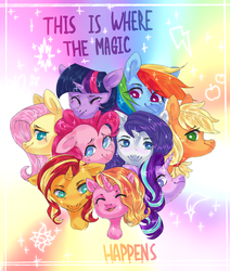 Size: 2889x3409 | Tagged: safe, artist:shininglovelystar, applejack, fluttershy, luster dawn, pinkie pie, rainbow dash, rarity, starlight glimmer, sunset shimmer, twilight sparkle, alicorn, earth pony, pegasus, pony, unicorn, the last problem, alternate mane seven, bust, chest fluff, crying, cutie mark, eyes closed, female, high res, mane six, mare, open mouth, portrait, smiling, the magic of friendship grows, twilight sparkle (alicorn)