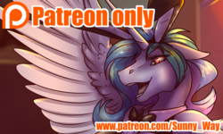 Size: 1672x1000 | Tagged: advertisement, alicorn, animal costume, anthro, artist:sunny way, bunny costume, bunny ears, bunnylestia, bunny suit, clothes, costume, horn, open mouth, patreon, patreon exclusive, patreon logo, patreon preview, paywall content, princess celestia, rcf community, safe, solo, wings