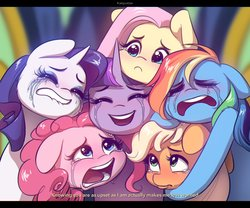 Size: 2126x1772   Tagged: safe, artist:katputze, applejack, fluttershy, pinkie pie, rainbow dash, rarity, twilight sparkle, alicorn, earth pony, pegasus, pony, unicorn, the last problem, anime, anime style, chromatic aberration, crying, crying on the outside, cute, end of ponies, female, floppy ears, group, group hug, hug, makeup, mane six, one of these things is not like the others, open mouth, running makeup, sad, sad smile, sadorable, scene interpretation, shyabetes, subtitles, tears of joy, twilight sparkle (alicorn)