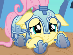 Size: 2048x1536 | Tagged: armor, artist:generalender15, cute, daaaaaaaaaaaw, floppy ears, fluttershy, jousting outfit, knight, pony, royal guard armor, safe, screencap, shyabetes, solo, the crystal empire