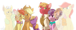 Size: 5000x2000 | Tagged: apple bloom, apple family, applejack, artist:glitterstar2000, big macintosh, bittersweet, bright mac, chest fluff, colt, crying, ear fluff, earth pony, end of an era, end of g4, end of ponies, eyes closed, ghost, goldie delicious' scarf, grand pear, granny smith, granny smith's scarf, high res, male, neck fluff, older, older apple bloom, older applejack, older big macintosh, pear butter, pony, safe, simple background, spoiler:s09e26, sugar belle, the end is neigh, the last problem, the whole apple family, unicorn, unnamed pony, white background