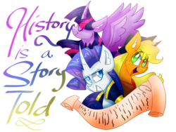 Size: 1024x768 | Tagged: alicorn, applejack, artist:emuuanne, a story told, bust, clothes, curved horn, grin, horn, lyrics, open mouth, pony, rarity, safe, scroll, simple background, smiling, spread wings, text, the count of monte cristo, the count of monte rainbow, transparent background, trio, twilight sparkle, twilight sparkle (alicorn), wings